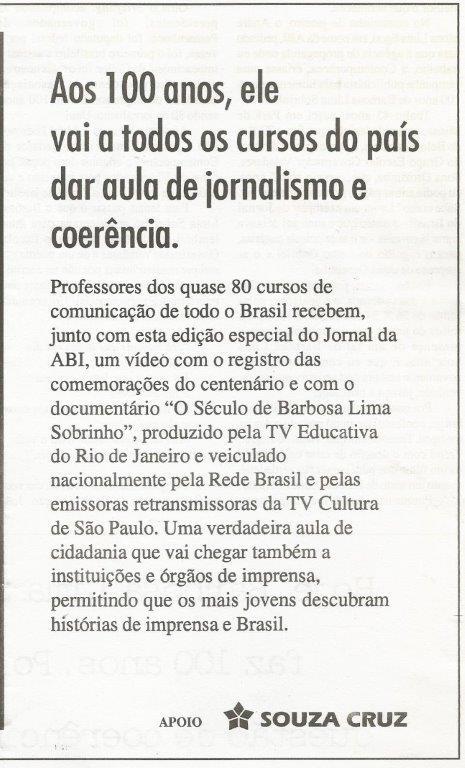 100-anos-barbosa-VHS Associação Brasileira de Imprensa – ABI, um caso especial
